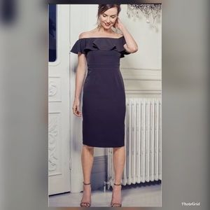 Zara M off shoulder pencil ruffle dress